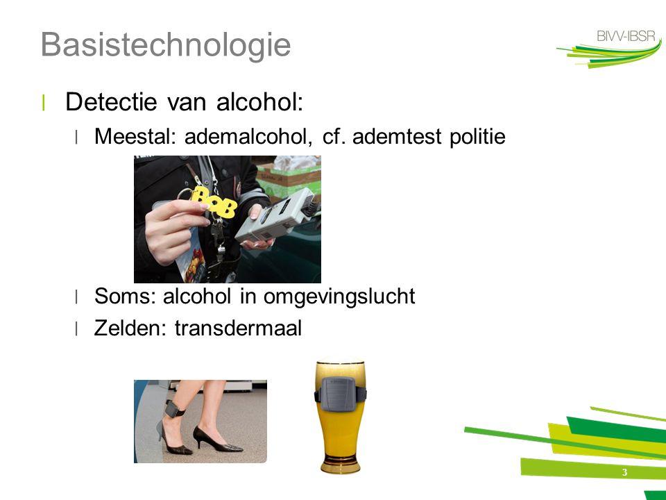 3 Basistechnologie ׀Detectie van alcohol: ׀Meestal: ademalcohol, cf. ademtest politie ׀Soms: alcohol in omgevingslucht ׀Zelden: transdermaal
