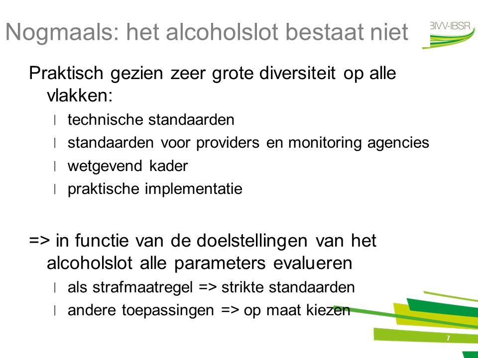 7 Nogmaals: het alcoholslot bestaat niet Praktisch gezien zeer grote diversiteit op alle vlakken: ׀technische standaarden ׀standaarden voor providers