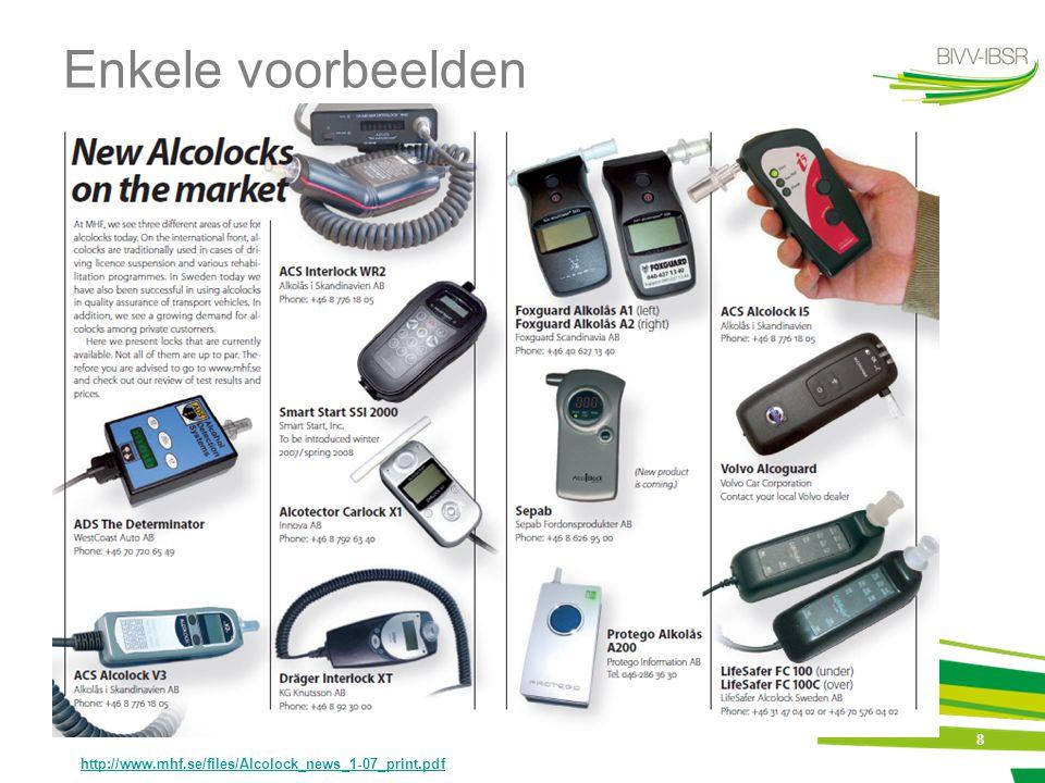 8 Enkele voorbeelden http://www.mhf.se/files/Alcolock_news_1-07_print.pdf