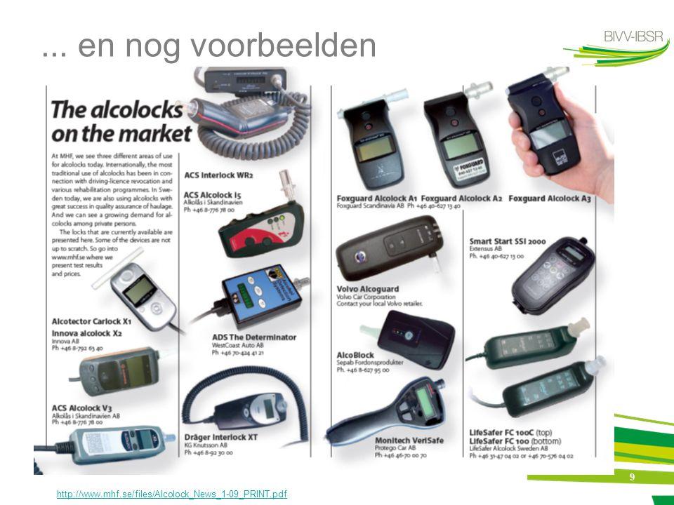 10 Types van toepassingen Als straf en/of rehabilitatiemaatregel: = secundaire preventie => preventie van recidiven voor rijden onder invloed van alcohol in België: Wet van 12 juli 2009 tot wijziging van WVW, wat het invoeren van het alcoholslot betreft => cf.