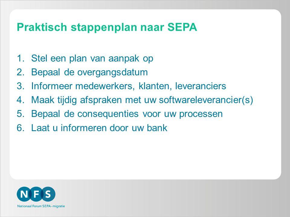 Praktisch stappenplan naar SEPA 1.Stel een plan van aanpak op 2.Bepaal de overgangsdatum 3.Informeer medewerkers, klanten, leveranciers 4.Maak tijdig afspraken met uw softwareleverancier(s) 5.Bepaal de consequenties voor uw processen 6.Laat u informeren door uw bank