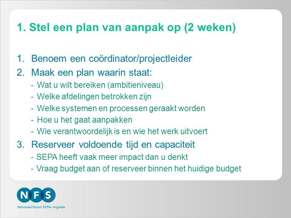1. Stel een plan van aanpak op (2 weken) 1.Benoem een coördinator/projectleider 2.Maak een plan waarin staat: -Wat u wilt bereiken (ambitieniveau) -We