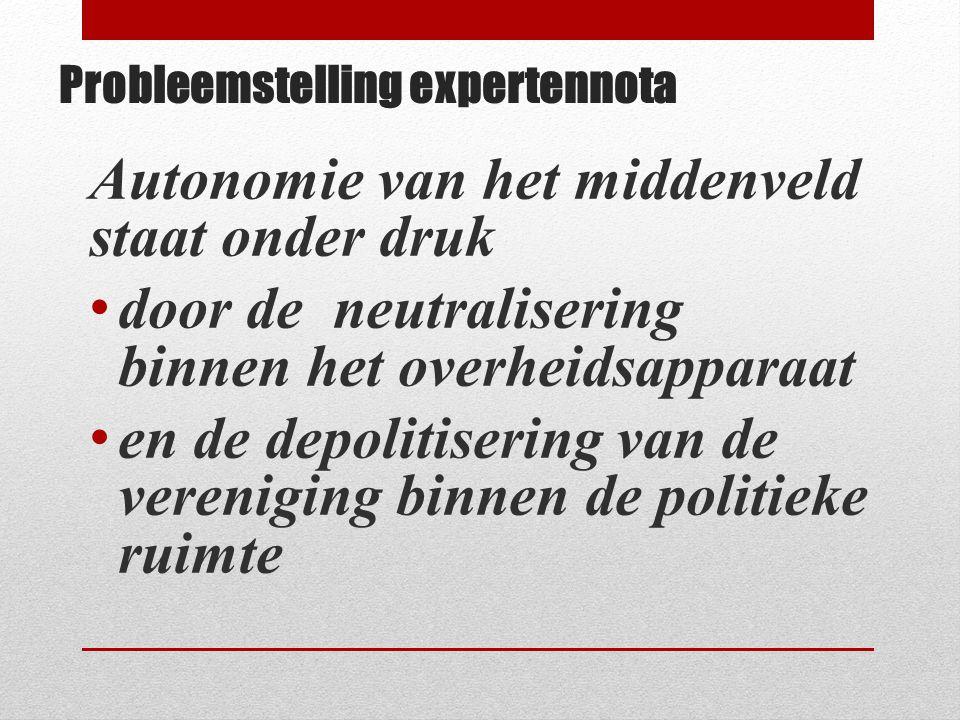 Probleemstelling expertennota Autonomie van het middenveld staat onder druk • door de neutralisering binnen het overheidsapparaat • en de depolitiseri
