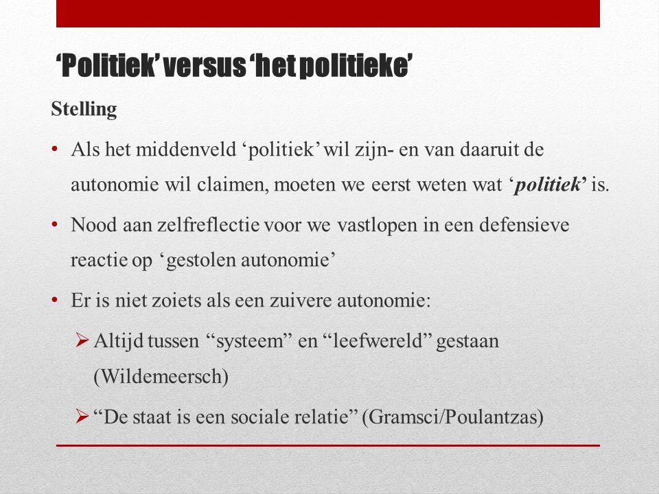'Politiek' versus 'het politieke' Stelling • Als het middenveld 'politiek' wil zijn- en van daaruit de autonomie wil claimen, moeten we eerst weten wa