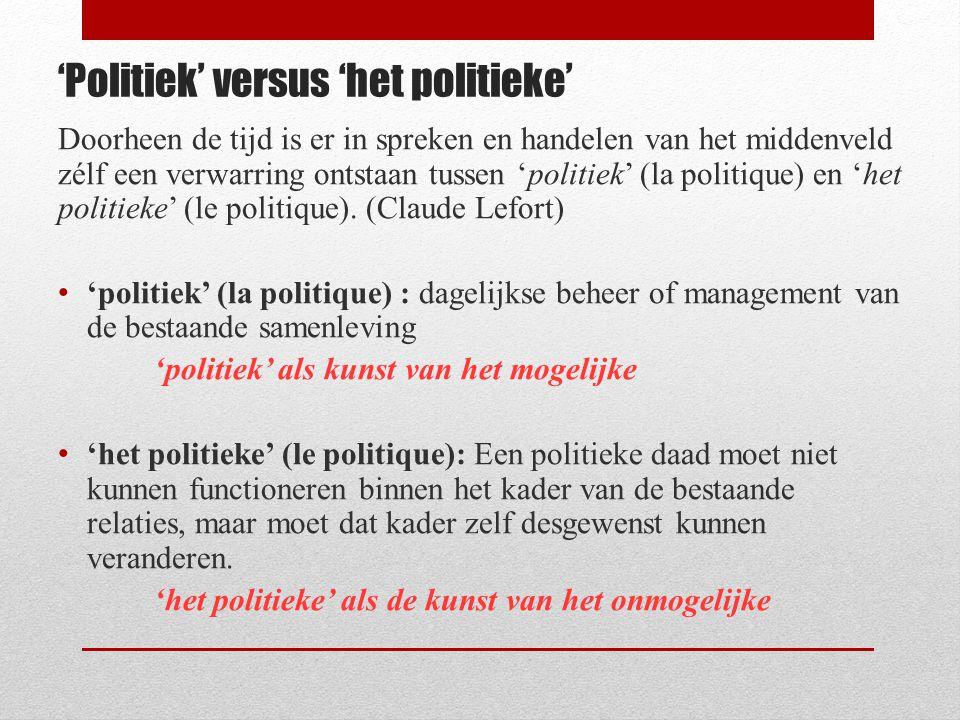 'Politiek' versus 'het politieke' Doorheen de tijd is er in spreken en handelen van het middenveld zélf een verwarring ontstaan tussen 'politiek' (la