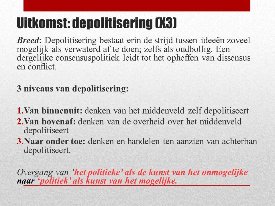 Uitkomst: depolitisering (X3) Breed: Depolitisering bestaat erin de strijd tussen ideeën zoveel mogelijk als verwaterd af te doen; zelfs als oudbollig
