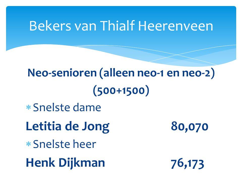Neo-senioren (alleen neo-1 en neo-2) (500+1500)  Snelste dame Letitia de Jong80,070  Snelste heer Henk Dijkman76,173 Bekers van Thialf Heerenveen