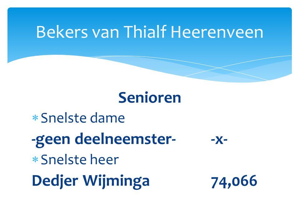 Senioren  Snelste dame -geen deelneemster--x-  Snelste heer Dedjer Wijminga74,066 Bekers van Thialf Heerenveen