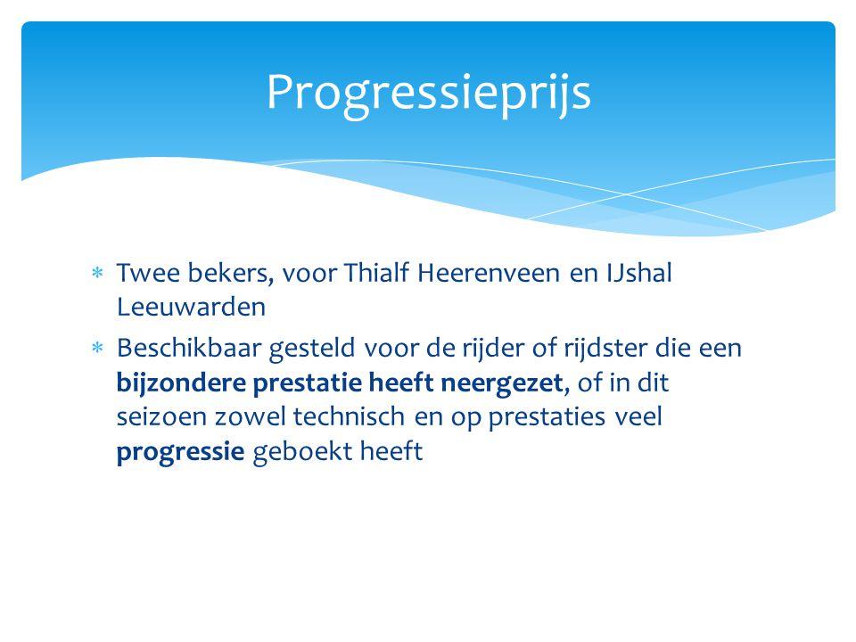  Twee bekers, voor Thialf Heerenveen en IJshal Leeuwarden  Beschikbaar gesteld voor de rijder of rijdster die een bijzondere prestatie heeft neergez