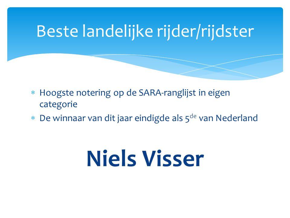  Hoogste notering op de SARA-ranglijst in eigen categorie  De winnaar van dit jaar eindigde als 5 de van Nederland Niels Visser Beste landelijke rij