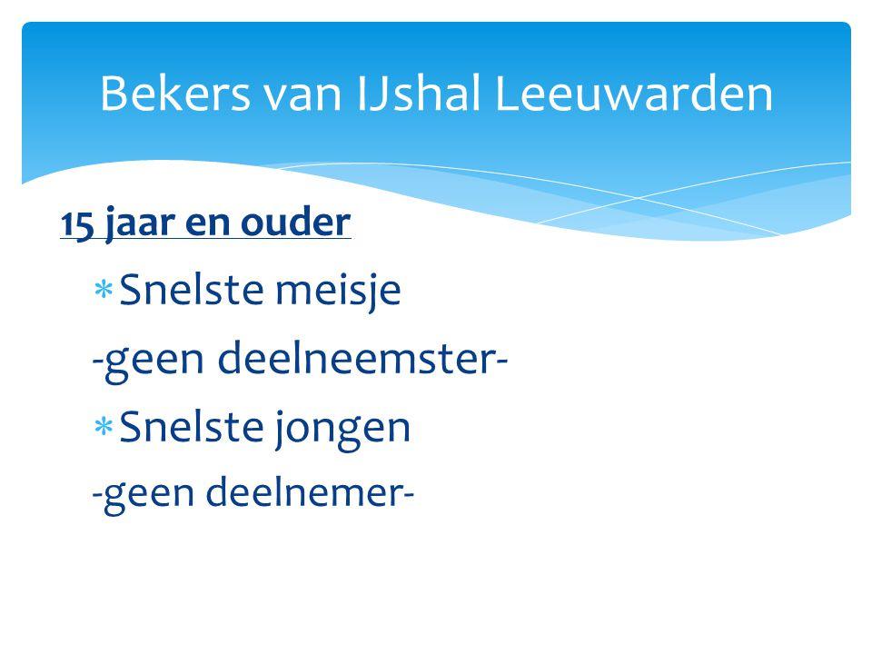 Snelste meisje -geen deelneemster-  Snelste jongen -geen deelnemer- Bekers van IJshal Leeuwarden 15 jaar en ouder