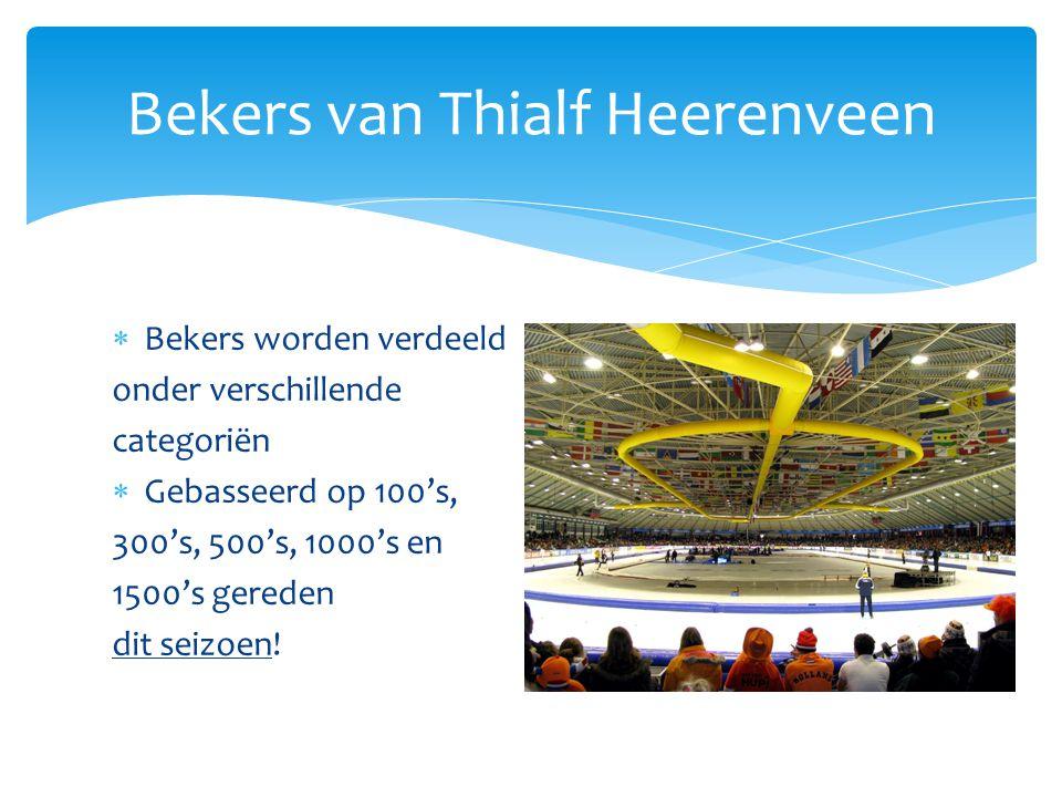 Pupillen (100+300+500)  Snelste meisje Martine de Boer87,170  Snelste jongen Harm Visser86,140 Bekers van Thialf Heerenveen