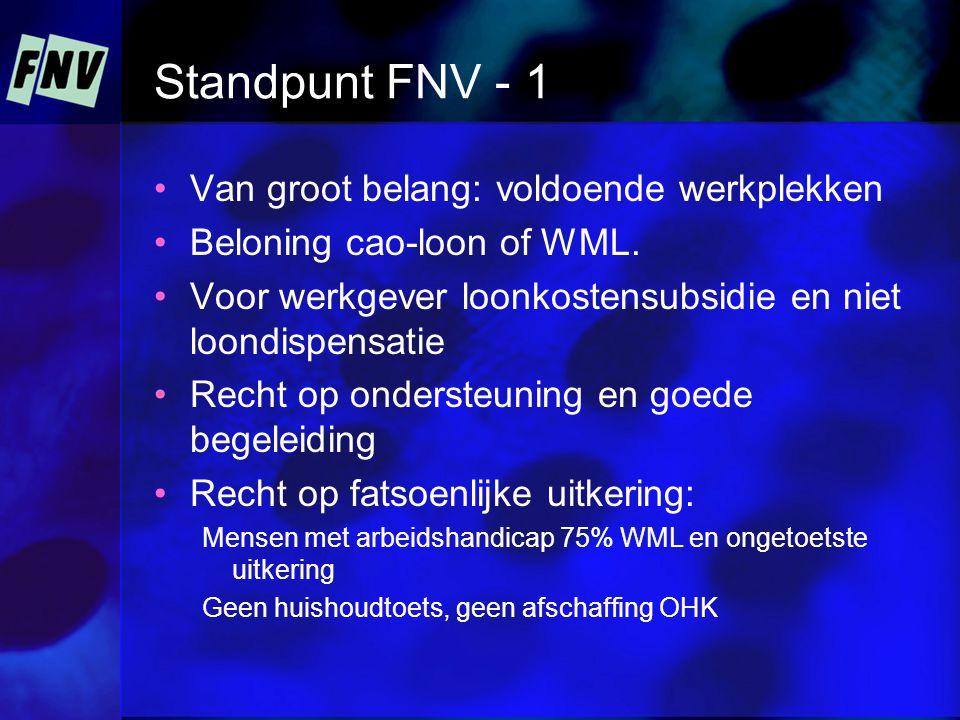 Standpunt FNV - 1 •Van groot belang: voldoende werkplekken •Beloning cao-loon of WML.