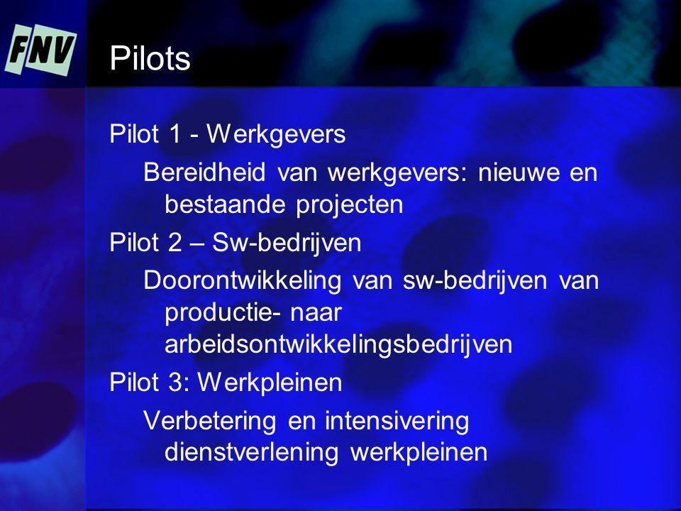 Pilots Pilot 1 - Werkgevers Bereidheid van werkgevers: nieuwe en bestaande projecten Pilot 2 – Sw-bedrijven Doorontwikkeling van sw-bedrijven van productie- naar arbeidsontwikkelingsbedrijven Pilot 3: Werkpleinen Verbetering en intensivering dienstverlening werkpleinen
