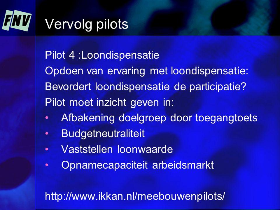 Vervolg pilots Pilot 4 :Loondispensatie Opdoen van ervaring met loondispensatie: Bevordert loondispensatie de participatie.