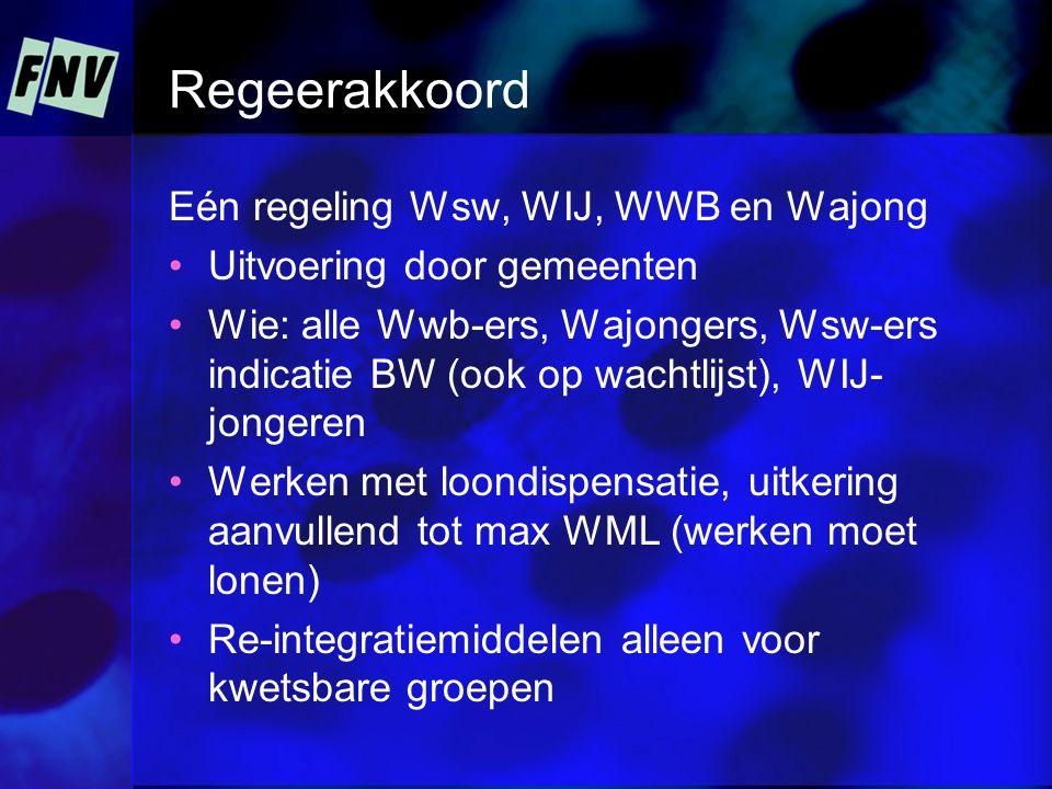 Regeerakkoord Eén regeling Wsw, WIJ, WWB en Wajong •Uitvoering door gemeenten •Wie: alle Wwb-ers, Wajongers, Wsw-ers indicatie BW (ook op wachtlijst), WIJ- jongeren •Werken met loondispensatie, uitkering aanvullend tot max WML (werken moet lonen) •Re-integratiemiddelen alleen voor kwetsbare groepen