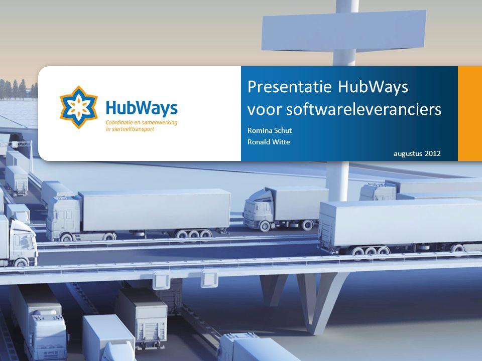 Coördinatie en samenwerking in sierteelttransport. Presentatie HubWays voor softwareleveranciers Romina Schut Ronald Witte augustus 2012 Coordination