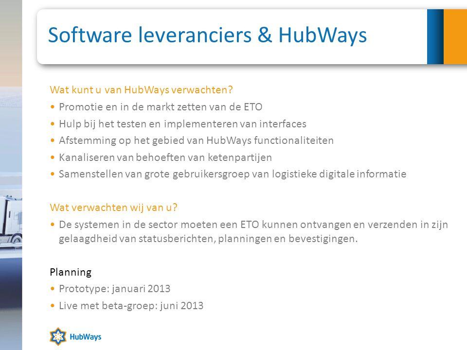 Software leveranciers & HubWays Wat kunt u van HubWays verwachten? •Promotie en in de markt zetten van de ETO •Hulp bij het testen en implementeren va