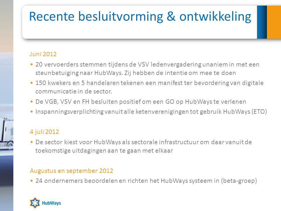 Recente besluitvorming & ontwikkeling Juni 2012 •20 vervoerders stemmen tijdens de VSV ledenvergadering unaniem in met een steunbetuiging naar HubWays.