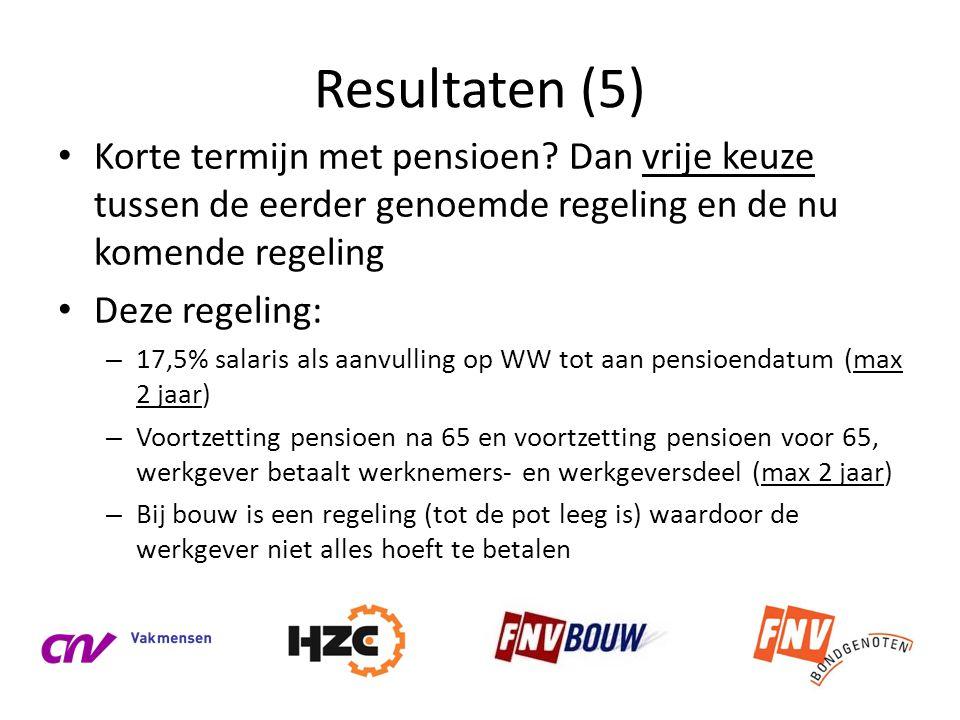 Resultaten (5) • Korte termijn met pensioen? Dan vrije keuze tussen de eerder genoemde regeling en de nu komende regeling • Deze regeling: – 17,5% sal