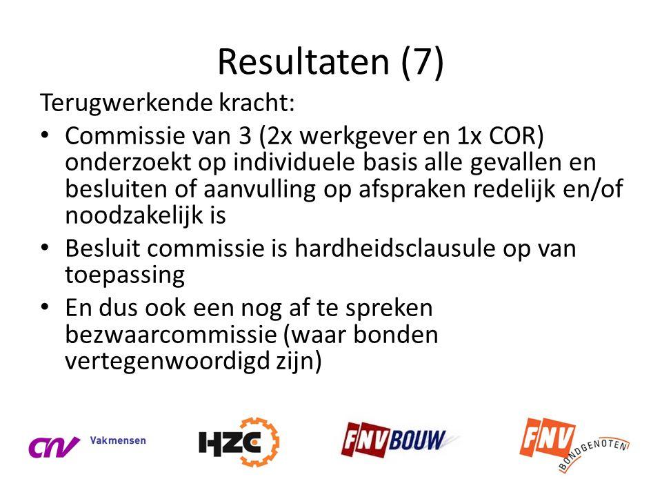 Resultaten (7) Terugwerkende kracht: • Commissie van 3 (2x werkgever en 1x COR) onderzoekt op individuele basis alle gevallen en besluiten of aanvulli