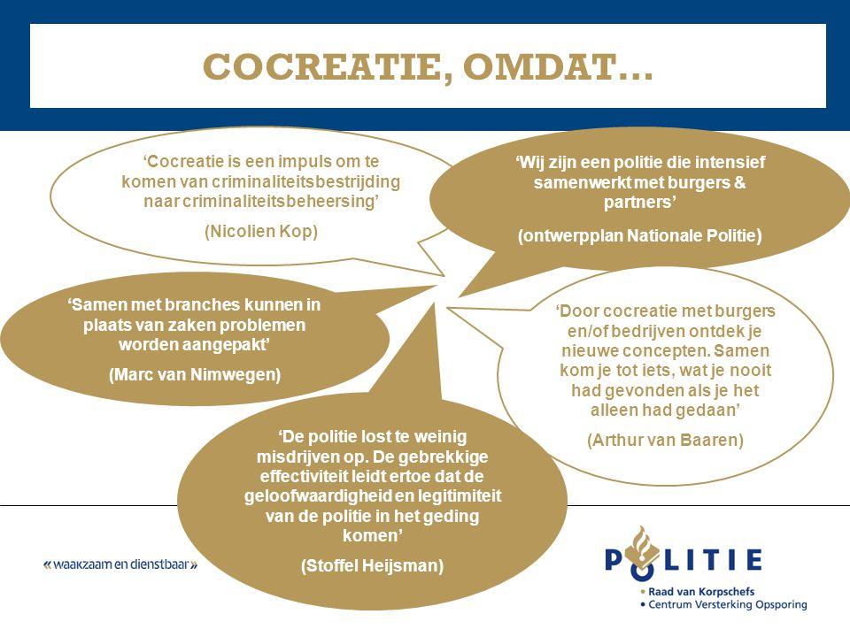 'Samen met branches kunnen in plaats van zaken problemen worden aangepakt' (Marc van Nimwegen) COCREATIE, OMDAT… 'Cocreatie is een impuls om te komen
