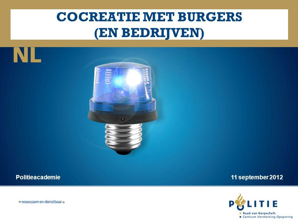 NL COCREATIE MET BURGERS (EN BEDRIJVEN) Politieacademie 11 september 2012