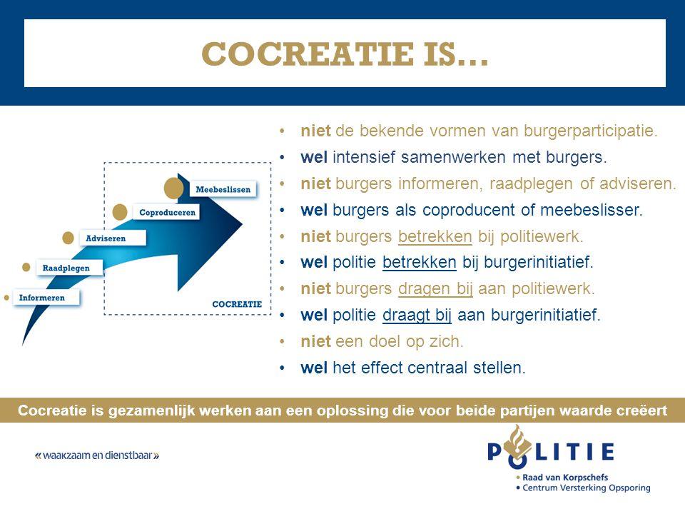 COCREATIE IS… •niet de bekende vormen van burgerparticipatie. •wel intensief samenwerken met burgers. •niet burgers informeren, raadplegen of advisere