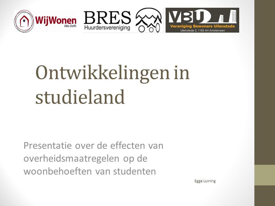 Ontwikkelingen in studieland Presentatie over de effecten van overheidsmaatregelen op de woonbehoeften van studenten Egge Luining