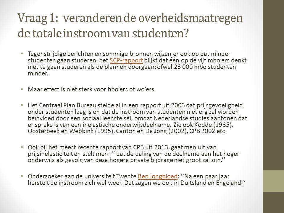 Vraag 1: veranderen de overheidsmaatregen de totale instroom van studenten.