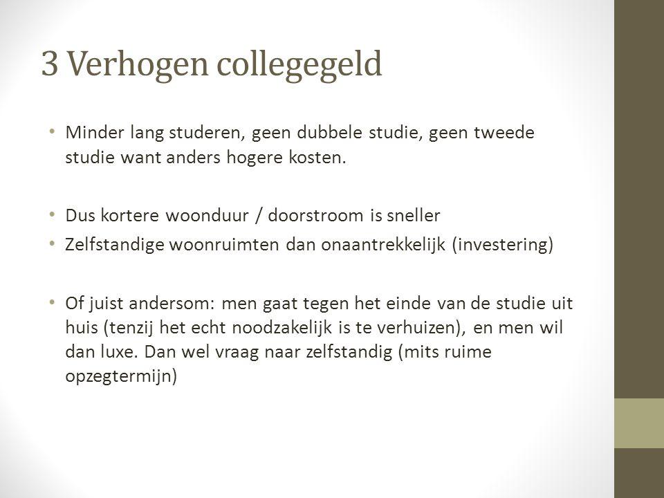 3 Verhogen collegegeld • Minder lang studeren, geen dubbele studie, geen tweede studie want anders hogere kosten.