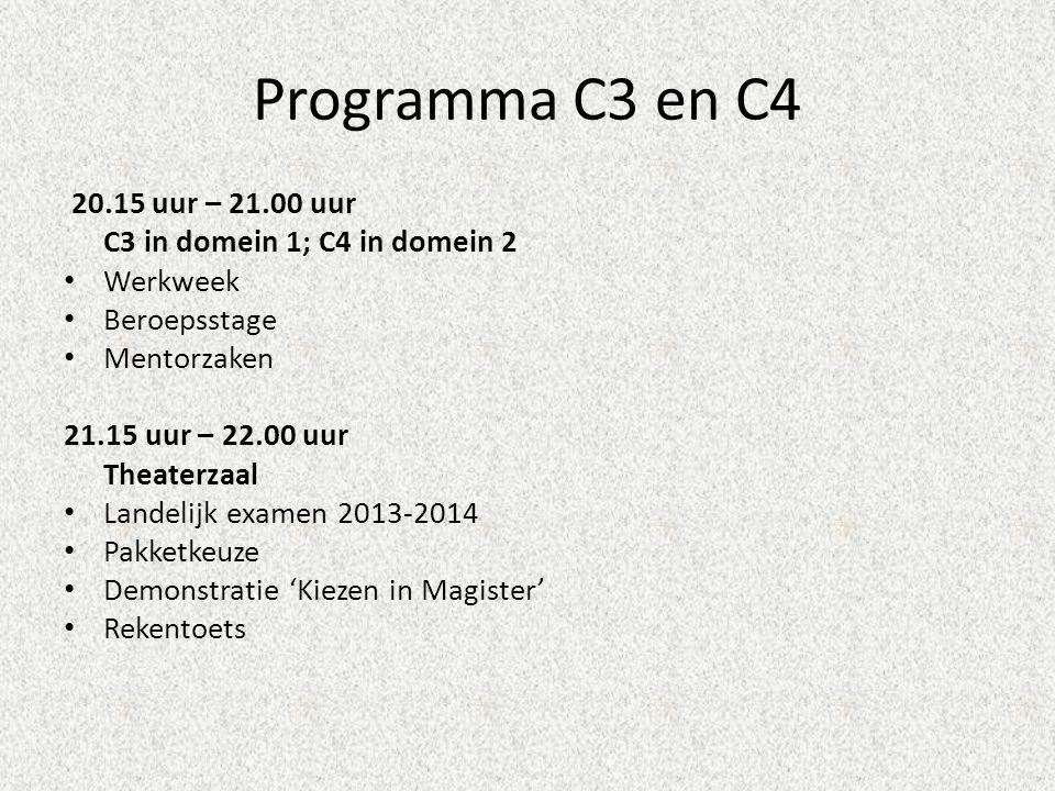 Programma C3 en C4 20.15 uur – 21.00 uur C3 in domein 1; C4 in domein 2 • Werkweek • Beroepsstage • Mentorzaken 21.15 uur – 22.00 uur Theaterzaal • La