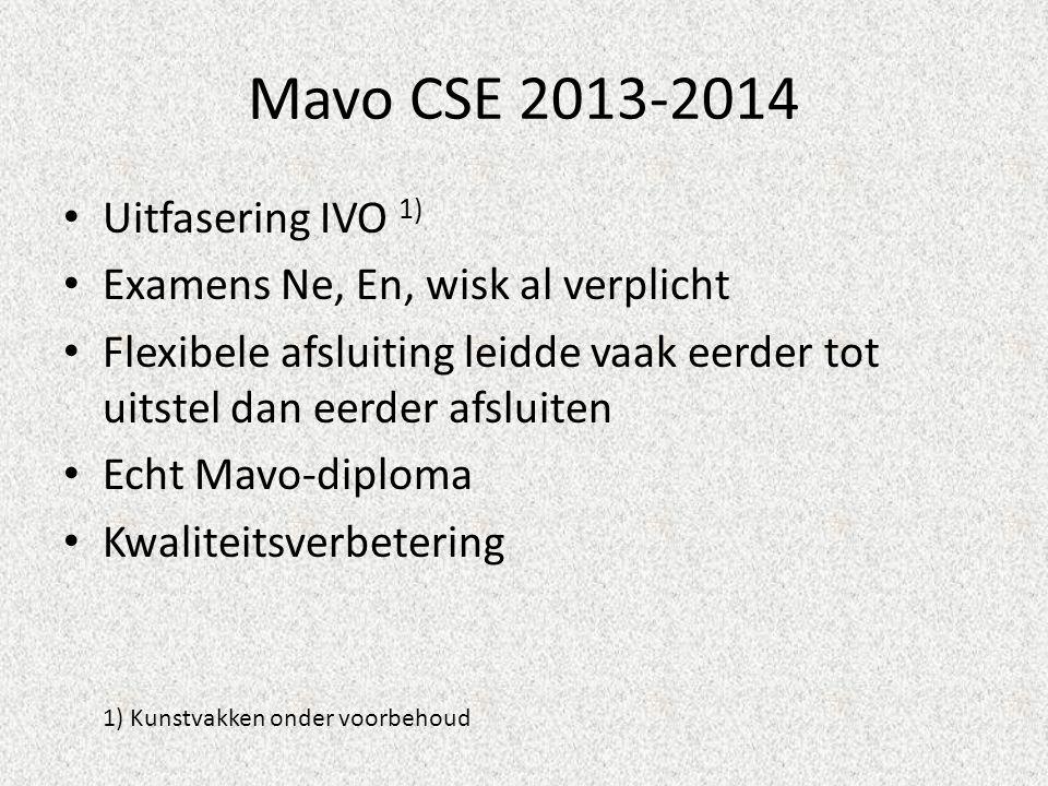 Mavo CSE 2013-2014 • Uitfasering IVO 1) • Examens Ne, En, wisk al verplicht • Flexibele afsluiting leidde vaak eerder tot uitstel dan eerder afsluiten