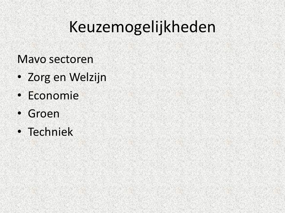 Keuzemogelijkheden Mavo sectoren • Zorg en Welzijn • Economie • Groen • Techniek