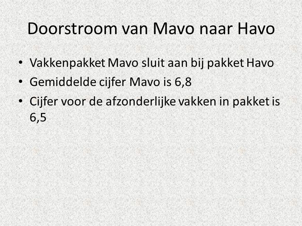 Doorstroom van Mavo naar Havo • Vakkenpakket Mavo sluit aan bij pakket Havo • Gemiddelde cijfer Mavo is 6,8 • Cijfer voor de afzonderlijke vakken in p