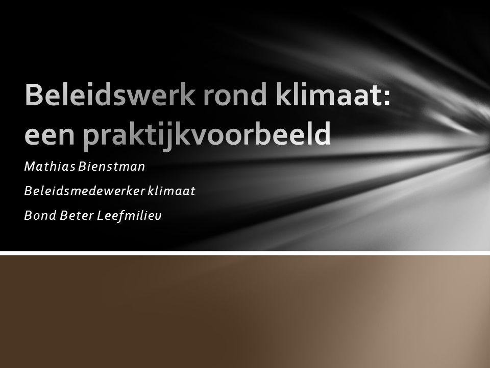 Mathias Bienstman Beleidsmedewerker klimaat Bond Beter Leefmilieu