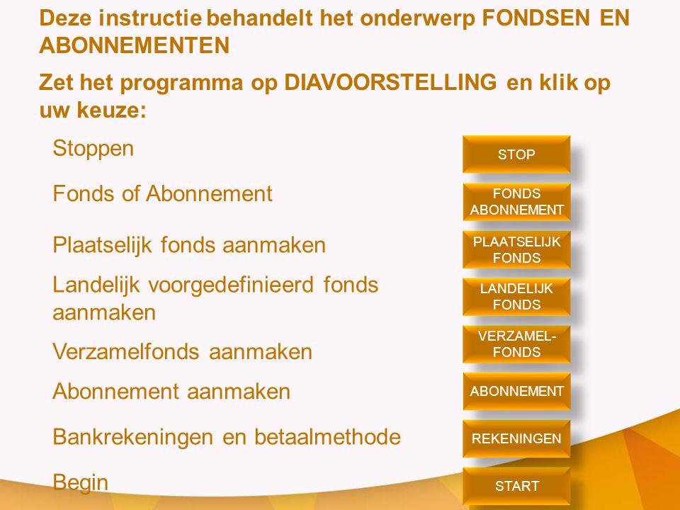 Deze instructie behandelt het onderwerp FONDSEN EN ABONNEMENTEN Zet het programma op DIAVOORSTELLING en klik op uw keuze: Stoppen Fonds of Abonnement