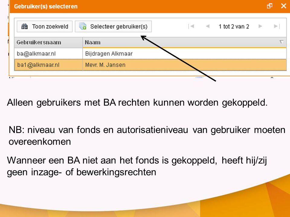 Alleen gebruikers met BA rechten kunnen worden gekoppeld. Wanneer een BA niet aan het fonds is gekoppeld, heeft hij/zij geen inzage- of bewerkingsrech
