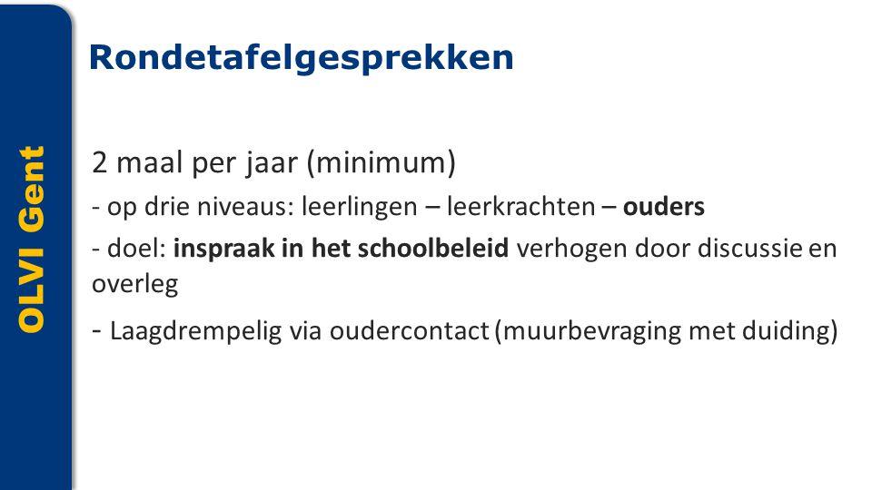 OLVI Gent 2 maal per jaar (minimum) - op drie niveaus: leerlingen – leerkrachten – ouders - doel: inspraak in het schoolbeleid verhogen door discussie