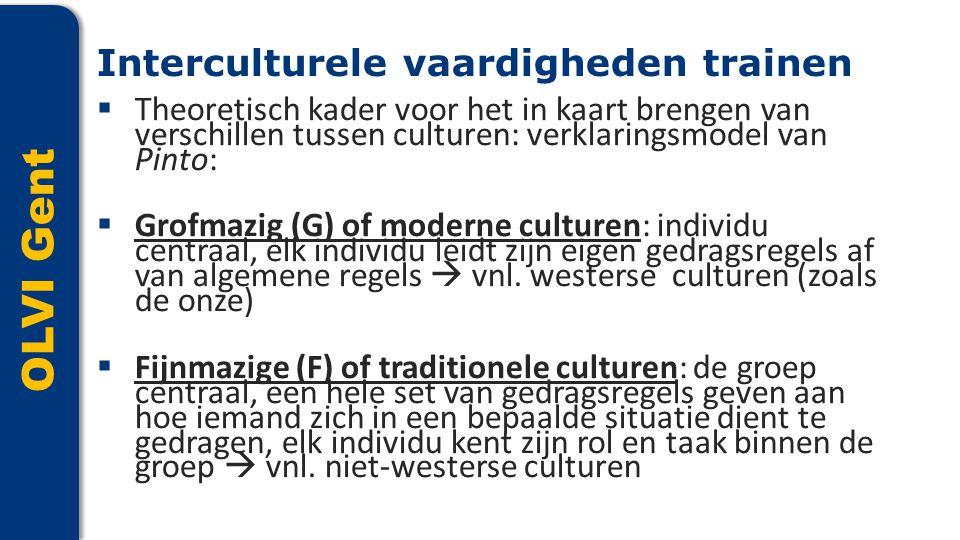OLVI Gent  Theoretisch kader voor het in kaart brengen van verschillen tussen culturen: verklaringsmodel van Pinto:  Grofmazig (G) of moderne cultur