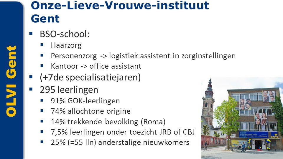 OLVI Gent  BSO-school:  Haarzorg  Personenzorg -> logistiek assistent in zorginstellingen  Kantoor -> office assistant  (+7de specialisatiejaren)