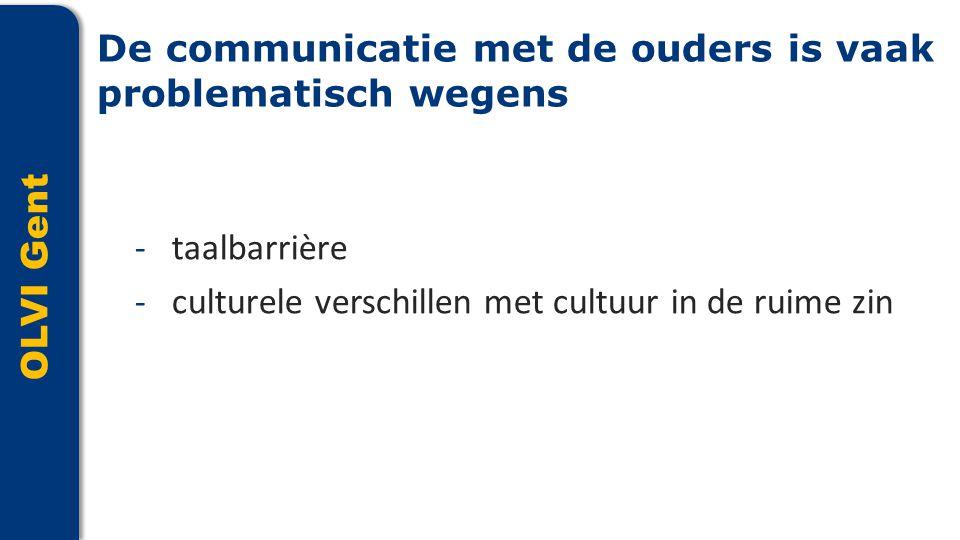 OLVI Gent -taalbarrière -culturele verschillen met cultuur in de ruime zin De communicatie met de ouders is vaak problematisch wegens