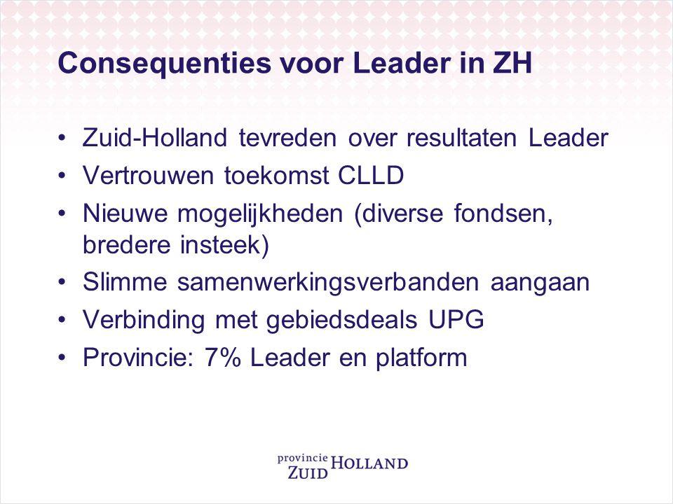 Consequenties voor Leader in ZH •Zuid-Holland tevreden over resultaten Leader •Vertrouwen toekomst CLLD •Nieuwe mogelijkheden (diverse fondsen, breder
