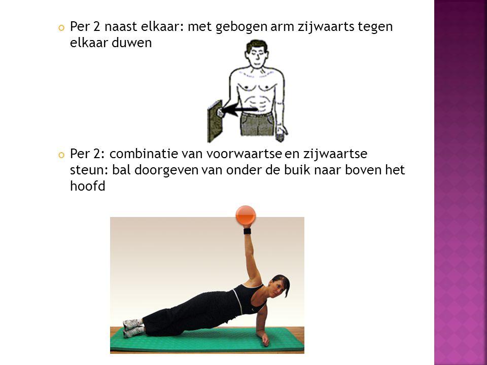 Per 2 naast elkaar: met gebogen arm zijwaarts tegen elkaar duwen Per 2: combinatie van voorwaartse en zijwaartse steun: bal doorgeven van onder de buik naar boven het hoofd