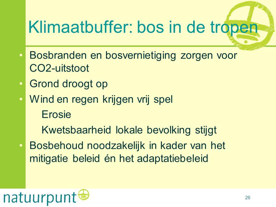 26 Klimaatbuffer: bos in de tropen •Bosbranden en bosvernietiging zorgen voor CO2-uitstoot •Grond droogt op •Wind en regen krijgen vrij spel •Erosie •