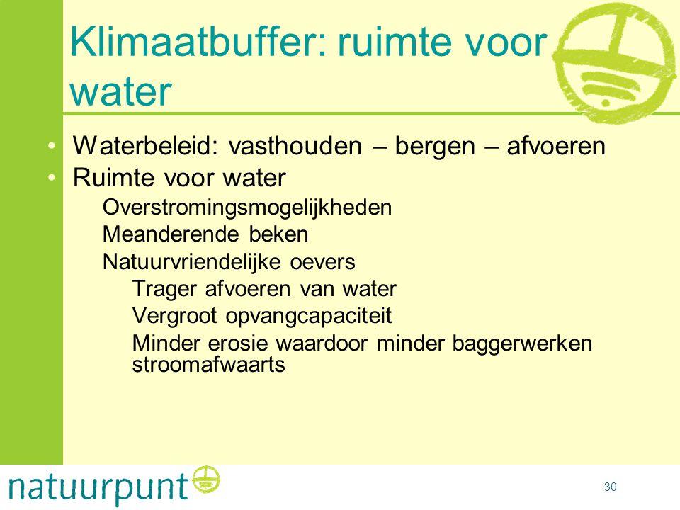 30 Klimaatbuffer: ruimte voor water •Waterbeleid: vasthouden – bergen – afvoeren •Ruimte voor water –Overstromingsmogelijkheden –Meanderende beken –Na