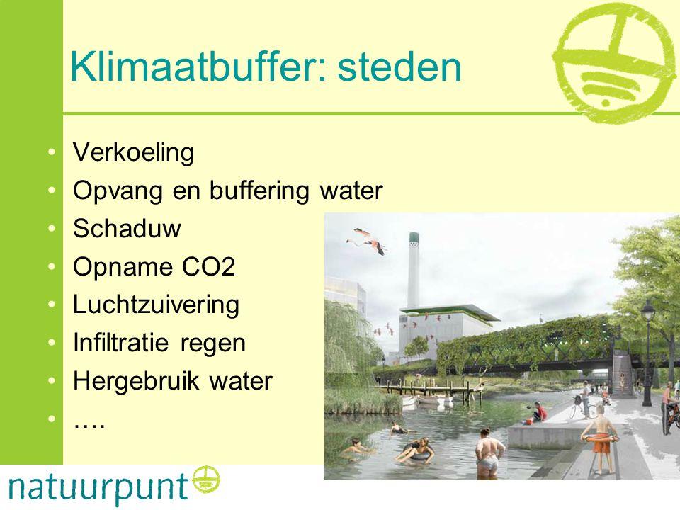 •Verkoeling •Opvang en buffering water •Schaduw •Opname CO2 •Luchtzuivering •Infiltratie regen •Hergebruik water •….