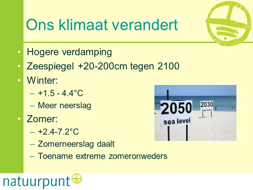 Ons klimaat verandert •Hogere verdamping •Zeespiegel +20-200cm tegen 2100 •Winter: –+1.5 - 4.4°C –Meer neerslag •Zomer: –+2.4-7.2°C –Zomerneerslag daa