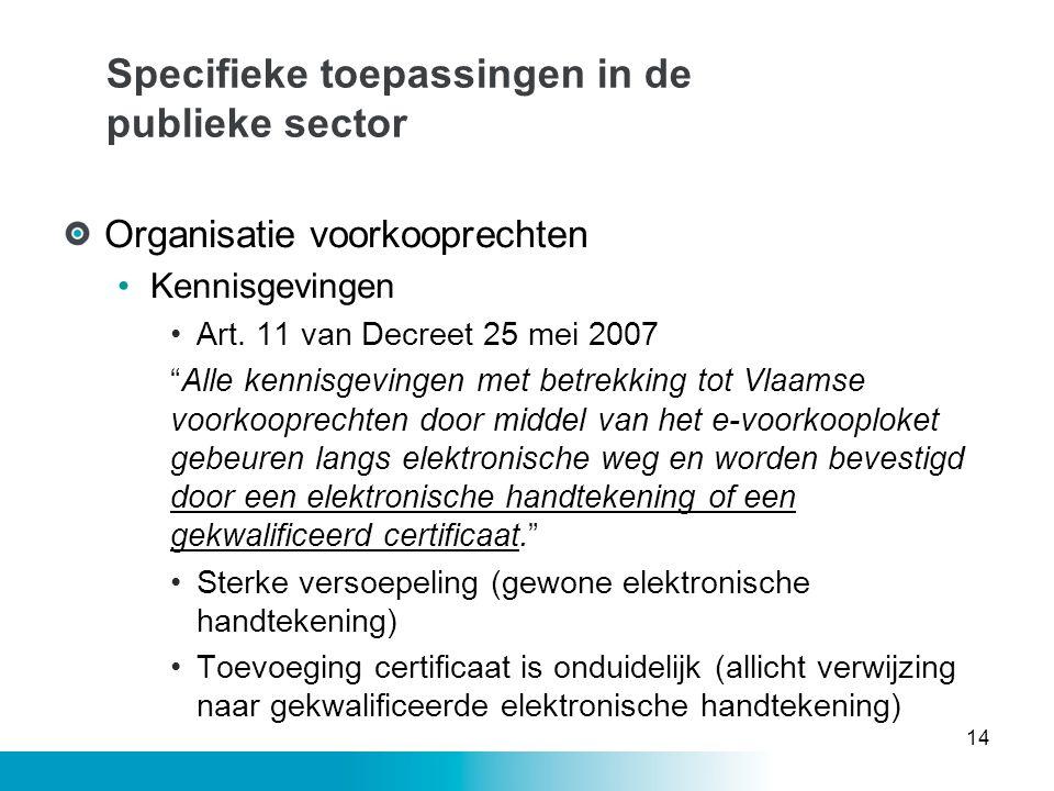 """Specifieke toepassingen in de publieke sector Organisatie voorkooprechten •Kennisgevingen •Art. 11 van Decreet 25 mei 2007 """"Alle kennisgevingen met be"""