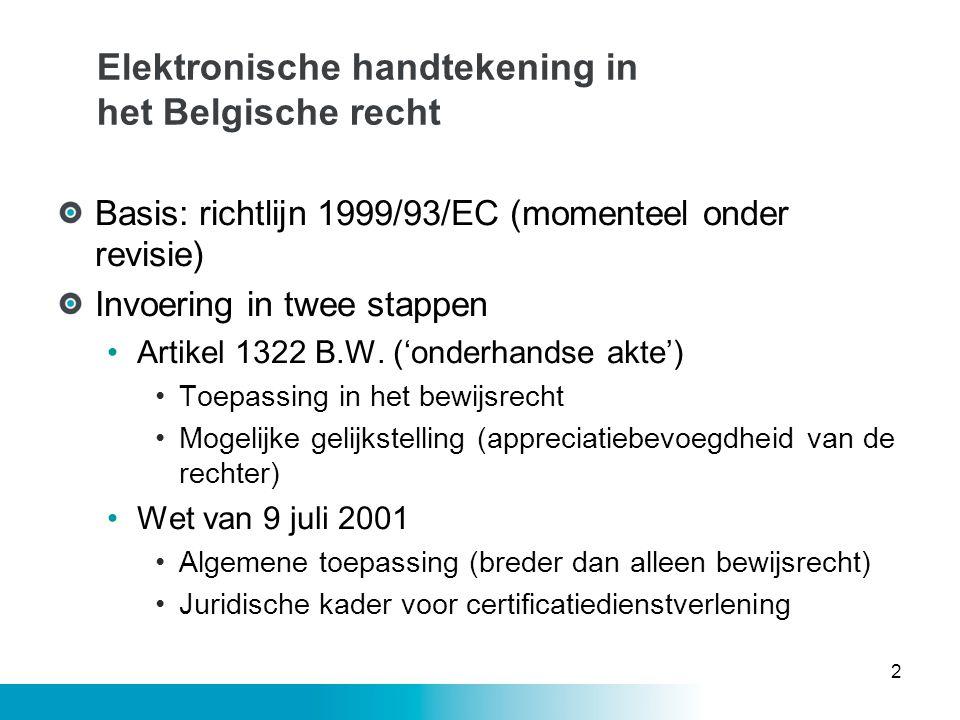 Elektronische handtekening in het Belgische recht Basis: richtlijn 1999/93/EC (momenteel onder revisie) Invoering in twee stappen •Artikel 1322 B.W. (